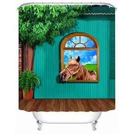 3D Horse in Window Printed Polyester Light Green Bathroom Shower Curtain