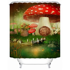 Fantastic Rural Style Fairytale Big Mushroom 3D Shower Curtain