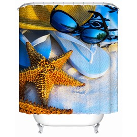 3D Starfish and Slippers Printed Polyester Shower Curtain