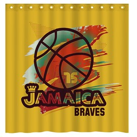 Fashion Basketball Pattern Yellow 3D Shower Curtain