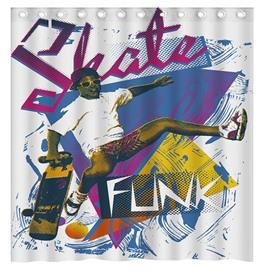 Unique Design Doodle Skating Boy 3D Shower Curtain
