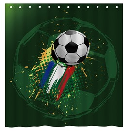 Creative Football and Doodle Pattern Dark Green 3D Shower Curtain
