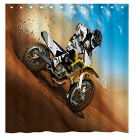 Super Cool Motorcycle Man 3D Shower Curtain
