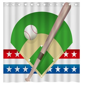 Modern Popular Baseball Game 3D Shower Curtain
