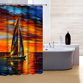 Aesthetic Design Oil Painting Sunset View and Sailing Boat 3D Shower Curtain