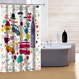 Brisk Wonderfl Colorful London Print 3D Shower Curtain