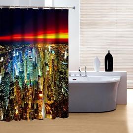 Charming Modern Urban City Night View 3D Shower Curtain
