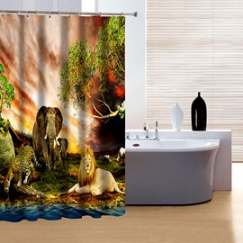 Elegant Lion Leopard and Elephant Print 3D Shower Curtain