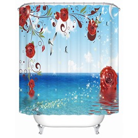 Modern Fashion Bright Ocean View 3D Shower Curtain