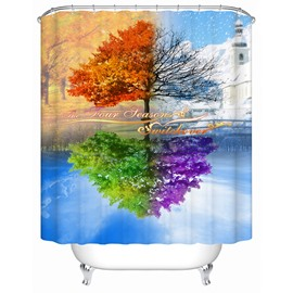 Artistic Design Unique Four Color Tree 3D Shower Curtain