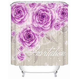 3D Waterproof Purple Roses Printed Polyester Shower Curtain