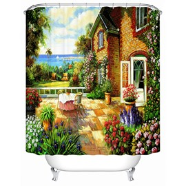 Charming Peaceful Lakeside View Cottage Printing 3D Shower Curtain