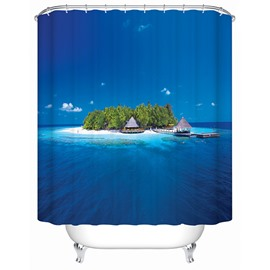 3D Island on the Sea Printed Blue Polyester Shower Curtain