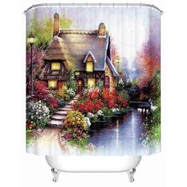 Super Beautiful Rural Scenery Villa Print 3D Shower Curtain