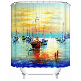 Spectacular Sea Scenery Ships Print 3D Shower Curtain