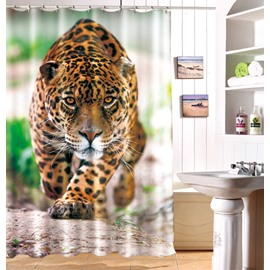 Vivid Special 3D Effect Leopard Image Waterproof Shower Curtain
