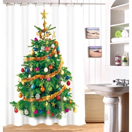 Jubilantly Shining Christmas Tree Print Polyester Shower Curtain