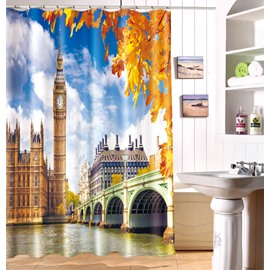Attractive Westminster Abbey Scenery 100% Polyester Fabric 3D Shower Curtain