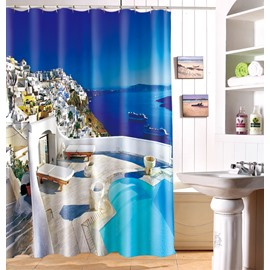 3D Coastal City Printed Blue Polyester Shower Curtain