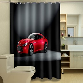 New Arrival Bright Red Vehicle Image Dacron 3D Shower Curtain