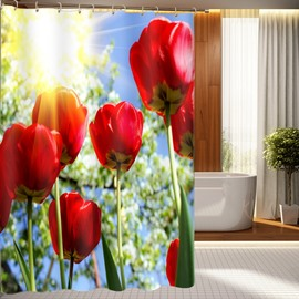 Unique Design Splendid Tulip Pattern 3D Shower Curtain