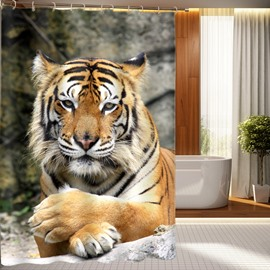 3D Lying Siberian Tiger Printed Polyester Brown Shower Curtain