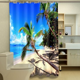 3D Coconut Tree and Beach Under Blue Sky Printed Polyester Shower Curtain