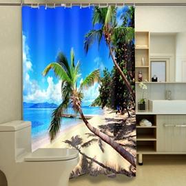 Beautiful Beach View Print Waterproof 3D Shower Curtain