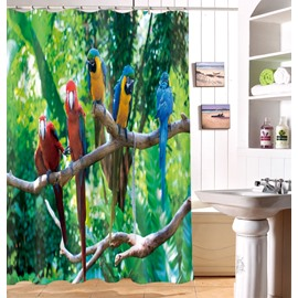 High Class 3D Vivid Parrot Print Waterproof Shower Curtain