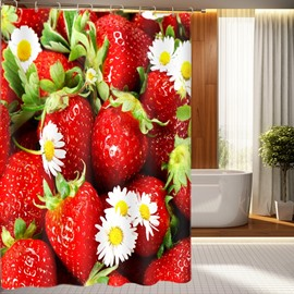 Sweet Cute Strawberry Pattern 100% Polyester 3D Shower Curtain