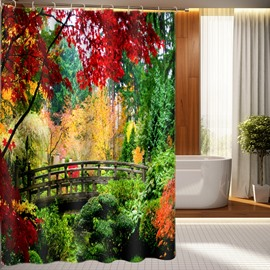 Unusual Bridge In Forest Print 3D Shower Curtain
