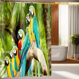 Fashionable Design Vivid Colorful Parrots 3D Shower Curtain