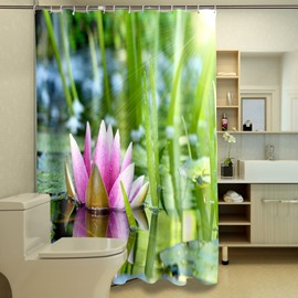 Awesome Attractive Water Lily Image 3D Shower Curtain