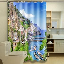 Beautiful Peaceful Coastal City Dacron 3D Shower Curtain