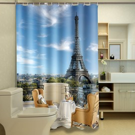 High Quality Hot Eiffel Tower Print 3D Shower Curtain