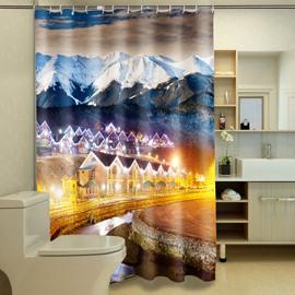 Magnificent Snow-capped Mountains & Mountain Villas 3D Shower Curtain