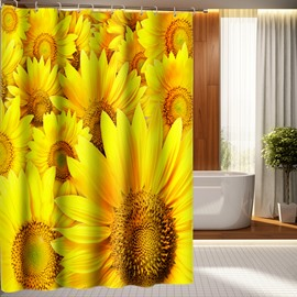 Amazing Fashionable Sunflower 100% Polyester 3D Shower Curtains