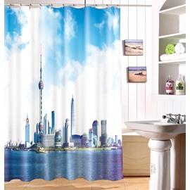 Superb Charming Urban Scene 3D Shower Curtain
