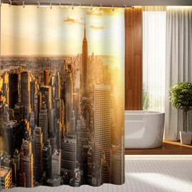 Metropolis Morning View Bathing Waterproof Bathroom 3D Shower Curtain