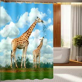 Fashionable Design Cute and Lovely Giraffes Waterproof 3D Shower Curtain