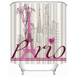 Pink Eiffel Tower Print 3D Shower Curtain
