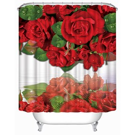 Waterproof Red Roses Print 3D Shower Curtain