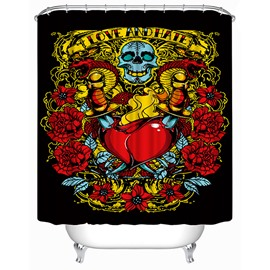 3D Skull and Heart Printed Polyester Black Shower Curtain
