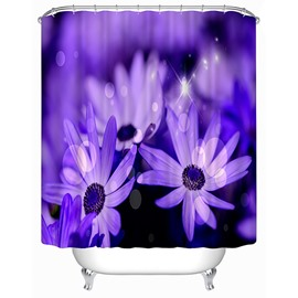 3D Purple Daisies Printed Polyester Shower Curtain