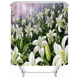 Pretty White Lilies Print 3D Shower Curtain