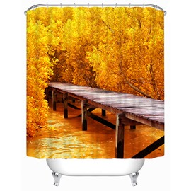 Golden Trees and Brige Print 3D Shower Curtain