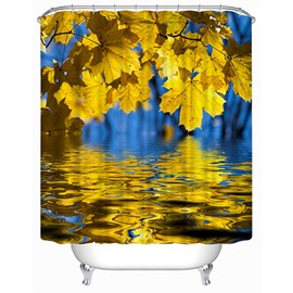 Golden Maple Leaves Print 3D Shower Curtain