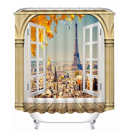 The Eiffel Tower out of the Window Print 3D Shower Curtain