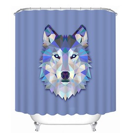 3D Wolf Head Printed Polyester Blue Shower Curtain