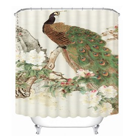 3D Standing Proud Peacock Printed Polyester Bathroom Shower Curtain